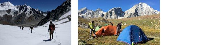 On the snow line after Borasu pass and Campsite at Bonga