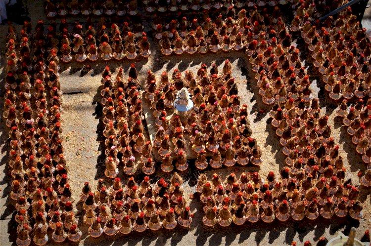 sacred pots for the abhisheka or holy bath