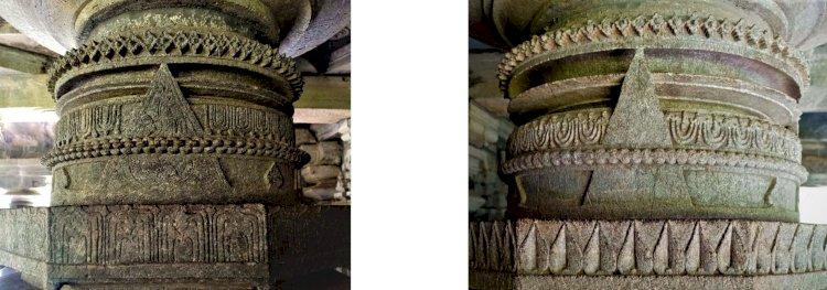 Carvings of pillars at Mahadev tambdi surla temple