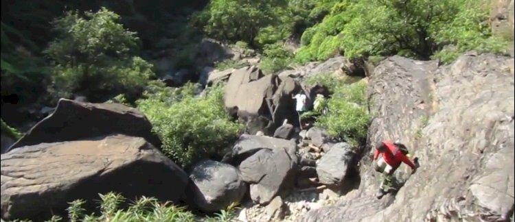 climbing to belligundi waterfalls