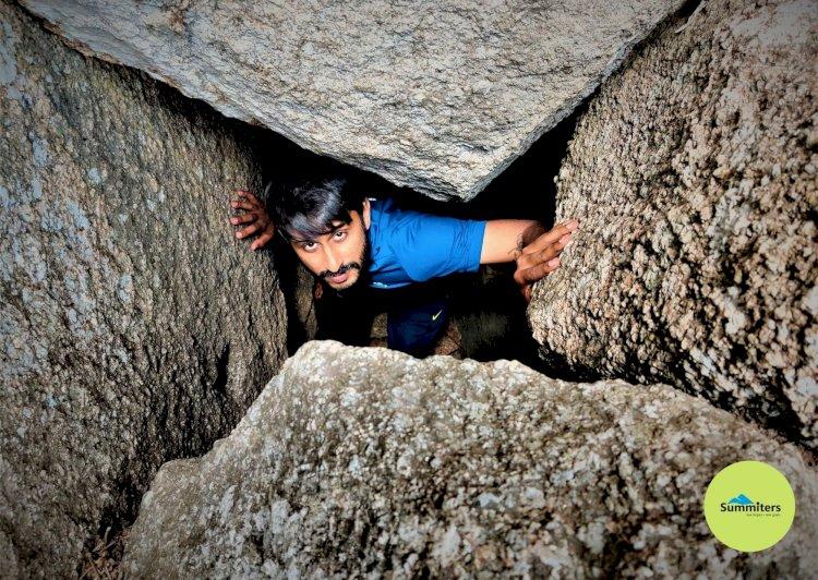 At the exit of Cave Davalappana Gudda Trek